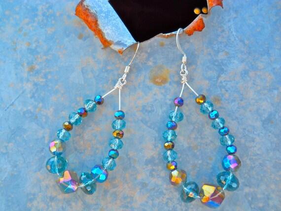 Light and Dark Sapphire Blue Crystal Teardrop Hoop Earrings