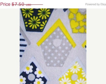 Birdhouses Flannel  Fabric 33 inches
