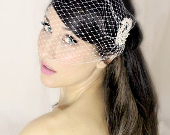 Bridal Veil and Hair Flower 3 PC set, bridal headpiece - JEFRA - by DeLoop