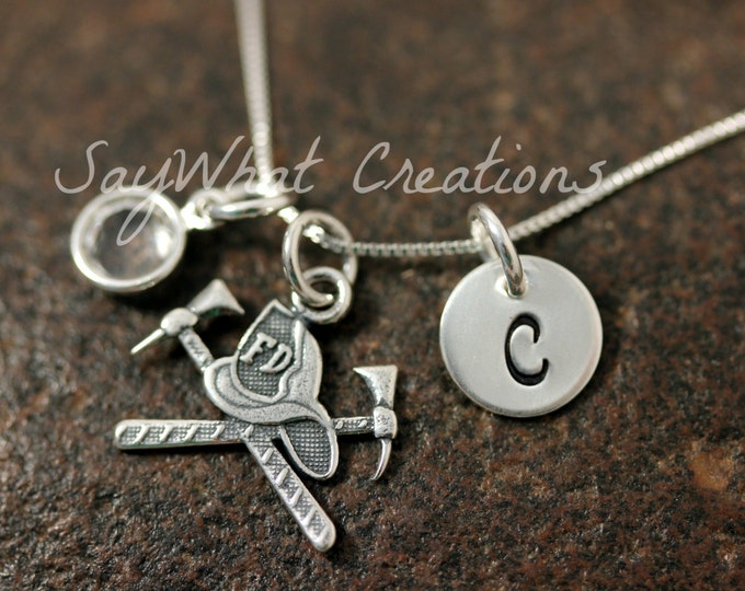 Hand Stamped Mini Initial Sterling Silver Firefighter Helmet and Ax Charm Necklace