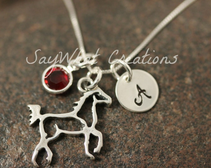 Sterling Silver Mini Initial Hand Stamped Charm Necklace Horse