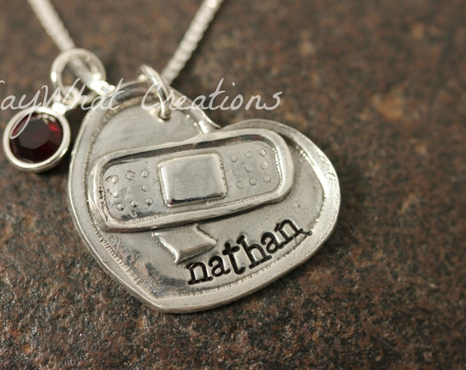 Personalized Solid Silver Heart with Bandaid broken heart Necklace for Congenital Heart Defect Awareness