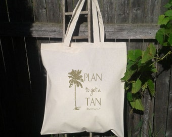 Palm Tree Wedding Welcome Tote Bags-Personalized Wedding Tote- Plan to get a Tan with Palm Tree