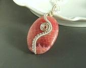Pink rhodochrosite necklace stone silver plated handmade elegant, romantic jewelry