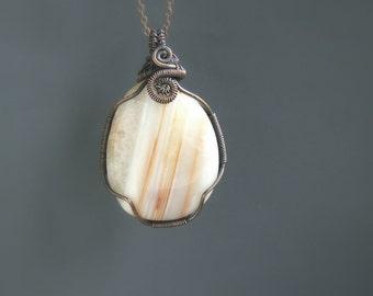 Striped carnelian necklace, orange white natural stone copper pendant, handmade rustic pendant
