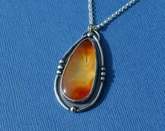 Sterling Silver and Oregon Carnelian Agate Necklace