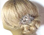 Bridal Veil and Bridal Comb, Bandeau Birdcage Veil, Blusher Bird Cage Veil , Rhinestone Fascinator Comb , QUICK SHIPPER Bridal Veil,