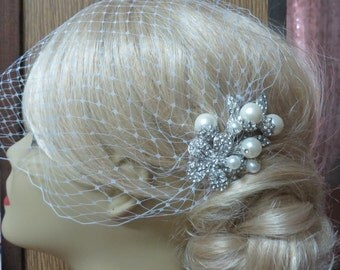 Birdcage Veil and a Bridal Pearls Comb (2 Items),Bridal veil, Rhinestone Bridal Hair Comb, Blusher Bird Cage Veil