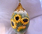 Sunflowers Hand Painted Glass Ornament