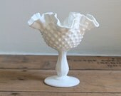 Vintage Fenton Hobnail Milk Glass Pedestal Bowl Candy Dish