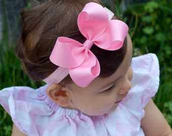 Baby Headband, LARGE LOOPY Grosgrain Boutique Baby Headband Bow, ANY color over 80 colors,  Baby Bow Headband, Baby Hair Bow
