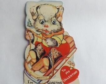 1930s Vintage Valentine card die cut little dog riding sled ephemera