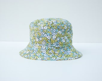 Baby Sun Hat Reversible (6-12 months) with strap - Chartreuse and Aqua