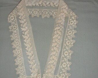 Antique victorian Irish crochet lace Collar Trim
