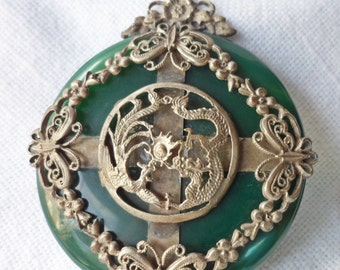 Antique Large GREEN Jadite JADE Disk PENDANT silver filigree Dragons Butterflies