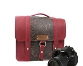 """10"""" Red and Brown Paisley Ashbury Leather Camera Bag"""