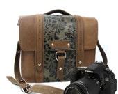 "10"" Brown and Green Paisley Napa Safari Leather Camera Bag"
