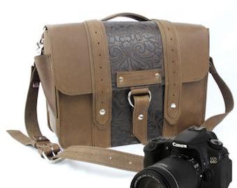 "14"" Brown and Brown Paisley Newport Ashbury Leather Camera Bag"