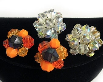 Cluster Earrings, Two Pairs - One Marked WEST GERMANY, ca. 1950s