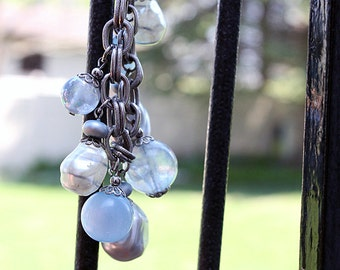 Adorable Chunky Charm Bracelet with Blue and White Beads