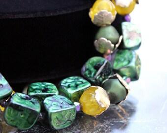 Iridescent Green 2-Strand Necklace, Hong Kong ca. 1950s
