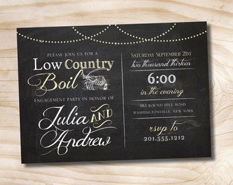 LOW COUNTRY BOIL Chalkboard Crab Shrimp Barbeque Engagement/Rehersal Dinner Party Invitation - Printable digital file or printed invitations
