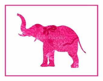 Pink Chinoiserie Floral Elephant Silhouette Facing Left Giclee