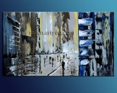 Cityscape Abstract modern oil on canvas original painting Made to Order Contemporary modern art office blue rain urban unique style by Milen