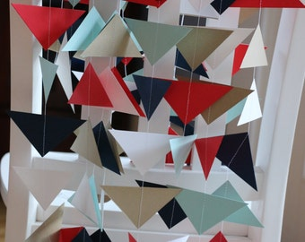 Triangle Paper Garland, Paper Garland, Birthday Garland, Geometric Garland, Modern Garland, Wedding Garland - Red, Blue, Gold