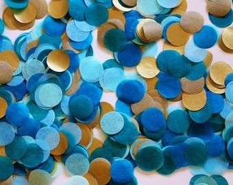 """Tissue Confetti - Blue Confetti - 1"""" Circle Confetti - Paper Confetti - Peacock Blue and Gold"""