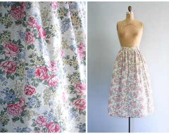pastel floral print full skirt - vintage 80s / Garden Party - summer tea party / Lolita - high waisted & gathered