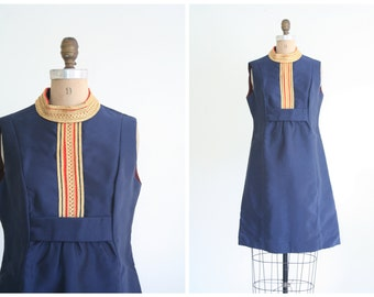vintage 60s sleeveless mod shift dress - navy blue / Military Inspired - retro / 1960s stewardess