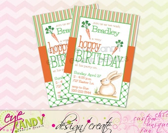 EASTER BIRTHDAY Invite - Hoppy Birthday - Easter Birthday - DIY Printable Invitation - Hoppy Birthday Easter Invite