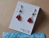 Red earrings,Glass earrin...
