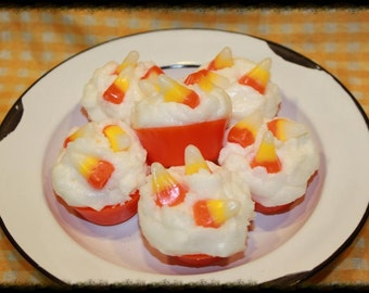 CANDY CORN Scented Primitive Fall Halloween Cupcake Wax Tarts Melts- Bowl Fillers