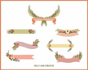 Peaches & Cream Floral Banners, Flower Clusters, Laurels, Bouquet Clip Art - Blog Graphics - Wedding graphics