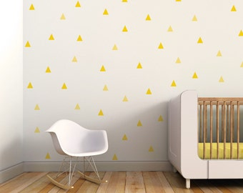 Triangle Wall Decal, Little Peaks Wall Decal, Kids Wall Decal, Yellow. Little Peaks Children Wall Decal