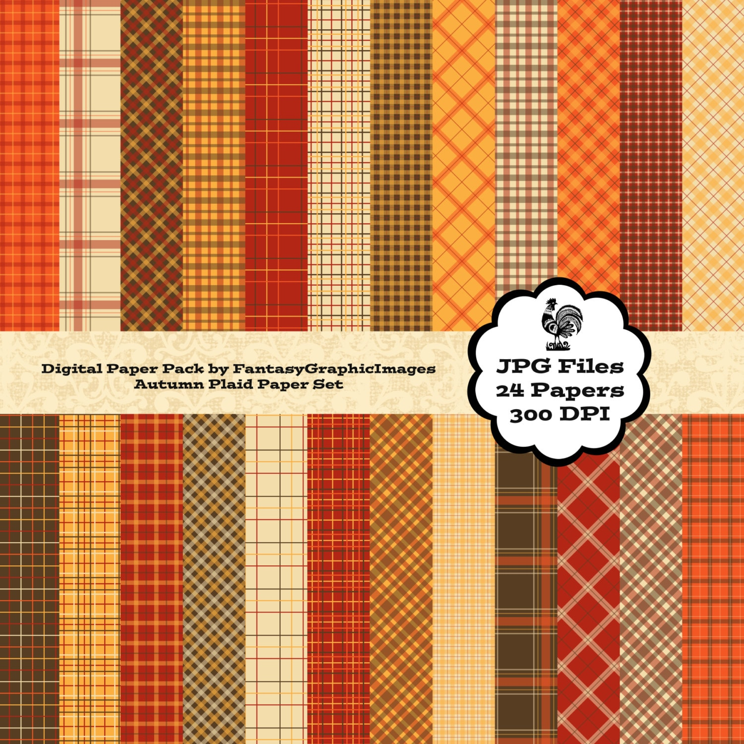 Autumn Thanksgiving Plaid Digital Paper Pack Set Style