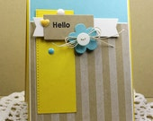 Hand Stamped Greeting Card - Hello!
