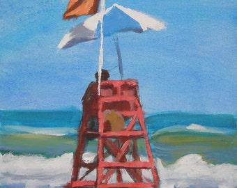 "Lifeguard painting -beach art  Archival Print- 8""x8"""
