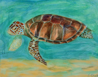 Sea Turtle Art-Loggerhead- Acrylic Painting- Archival Print