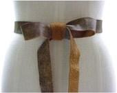 SALE Bow belt, Distressed leather wrap belt, double wrap belt, distressed leather tie belt, basic belt, caramel tan & dark brown, XS,S,M