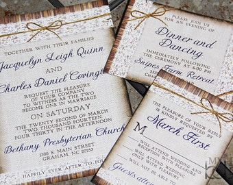 NEW, Rustic, Linen, Lace and Twine bow Wedding Invitation Suite. Twine bow wedding invitations.