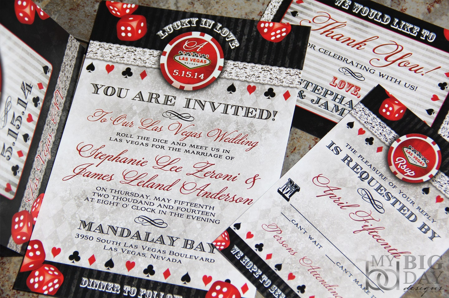 lucky in love las vegas destination wedding invitations. vegas, Wedding invitations