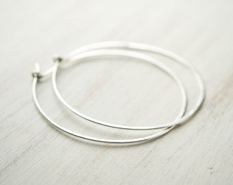 Large Sterling Silver Hoops, Trendy Silver Hoops, Hammered Silver Wire, Simple Hoop Earrings, Fashion Jewelry, Hand Made, Gift, EAR006