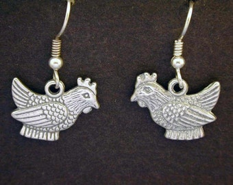 Sterling Silver Hen Chicken Earrings on Heavy Sterling Silver French Wires