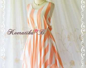 A Party V Backless Stripe Dress Cream Pale Orange Dress Backless Dress Prom Party Dress Vintage Wedding Bridesmaid Dress Custom Made