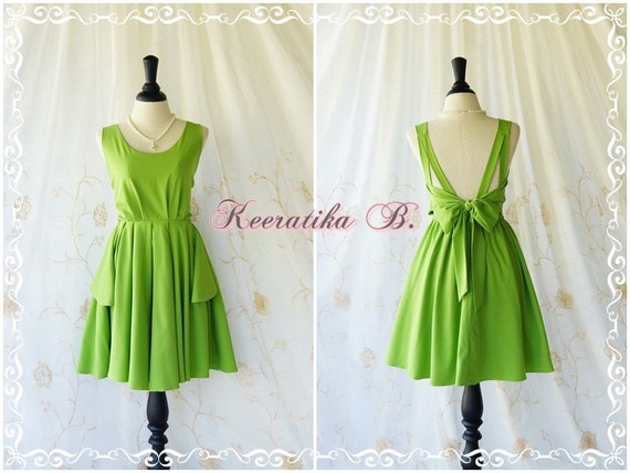 A Party V Backless Lime Green Dress Baby Lime Green Party Dress Backless Dresses Cocktail Prom Dresses Bridesmaid Dress Custom Made