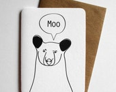 Moo Bear card - funny line drawing handmade art card