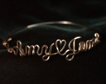 Double Name Bracelet Lightweigt in 14k Gold Fill Or Sterling Silver Wire